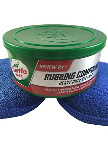 Turtle Wax Rubbing Compound & Heavy Duty Cleaner - 10.5 oz. and Auto Drive Microfiber Applicator Blue Pads Bundle