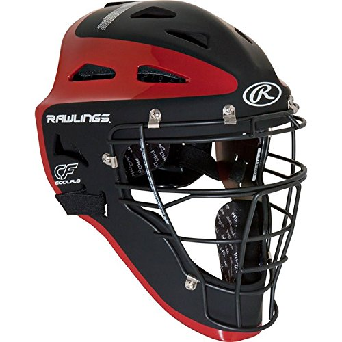 Rawlings Sporting Goods Adult Velo Series Catchers Helmet, Black/Scarlet, 7 1/8-7 3/4