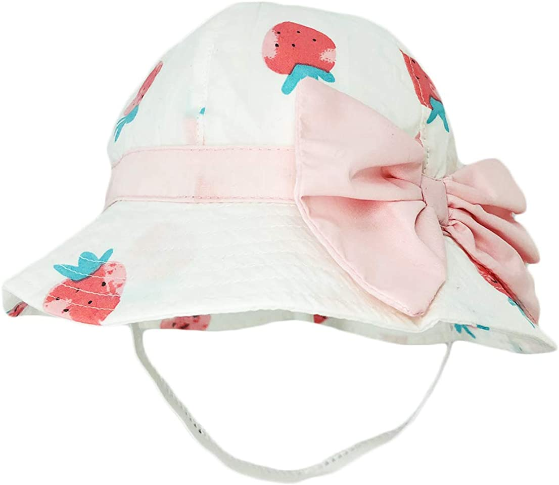 DANMY Baby Girl Wide Brim Bucket Hats with UPF 50 Outdoor Adjustable Beach Hat with Sun Hat