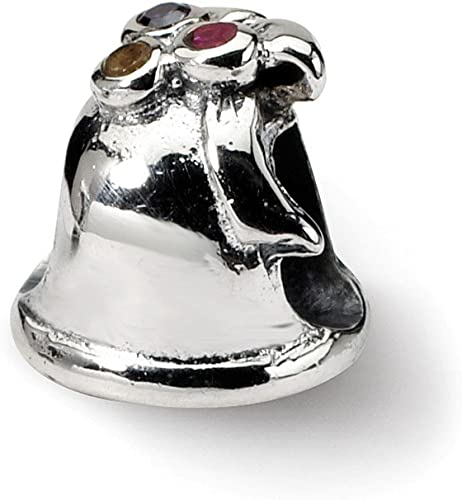 Bonyak Jewelry 18 Inch Rhodium Plated Necklace w// 4mm Jet Birth Month Stone Beads and Saint Fina Charm