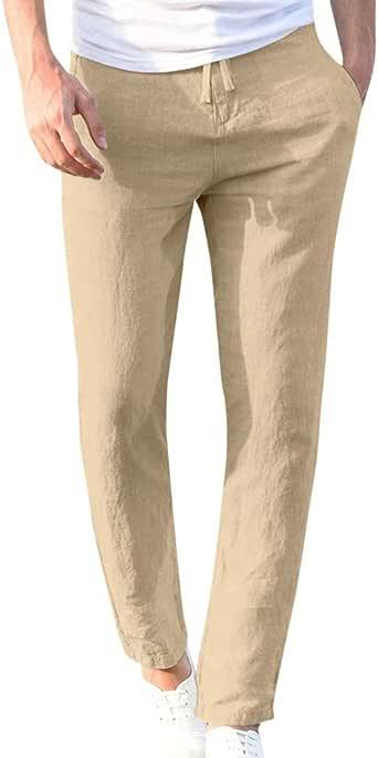 DUJIE Pantalon Deporte Hombre Recto Suelto Cinturón de algodón ...