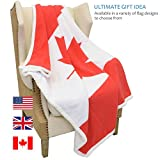 """Sherpa Fleece Blanket,Canada National Flag Maple Leaf Print Patriotic Plush Super Soft Warm Reversible Polar Throws for Couch Bed by Catalonia 60"""" x 50"""""""