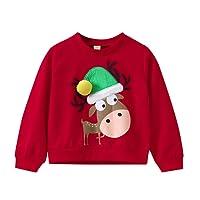 Sensail Sweat Noel Enfant Garcon Manche Longue Christmas Sweater Renne Animaux Cartoon Sweatshirt Pull Chaud Chemise Col Rond