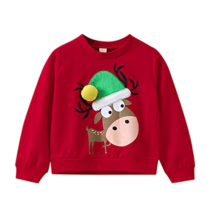 Little Kids Christmas Sweatshirt,Jchen(TM) Baby Kids Little Girls Boys Long Sleeve