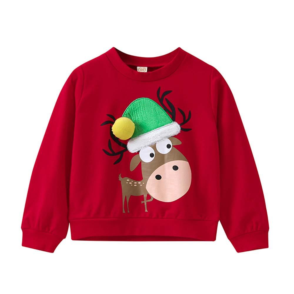 Amazon.com: Iuhan 2-11Year Baby Girls Boys Sweatshirt Christmas Elk Print Pullover Top Blouse: Clothing