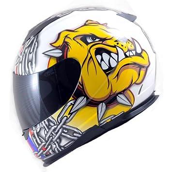 MT truenos relámpagos UK-K9 casco de moto Blanco blanco Talla:large