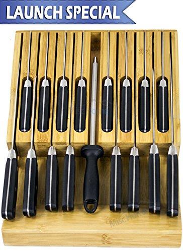 In-Drawer Bamboo Knife Block Holds 16 Knives + Sharpener  K