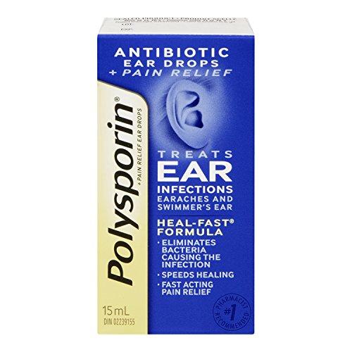 Polysporin Plus Pain Relief Antibiotic Ear Drops, 15 ml