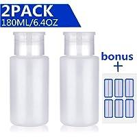 Acetone Pump Dispenser Push Down Pump Dispenser Lockable Alcohol Dispenser Bottle 2 Pack 180ml/6.4oz One-Touch Pump Dispenser Empty Bottle For Alcohol,Acetone,Nail Polish & Makeup Remover,Toner,etc