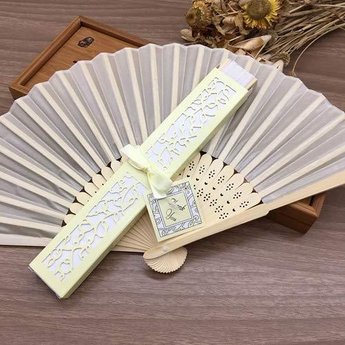 Viet JK 10Pcs 10Pcs/Lot Personalized/Customized Printing Text 21Cm Bamboo Spun Silk Hand Fan Wedding Invitation - by GTIN - 1 Pcs
