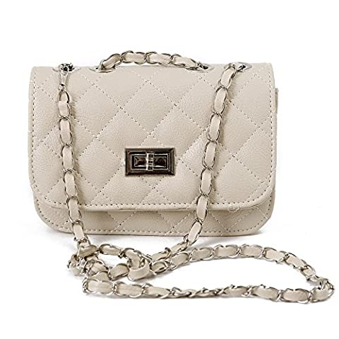 HDE Quilted Crossbody Handbag with Metal Chain Strap (Cream)