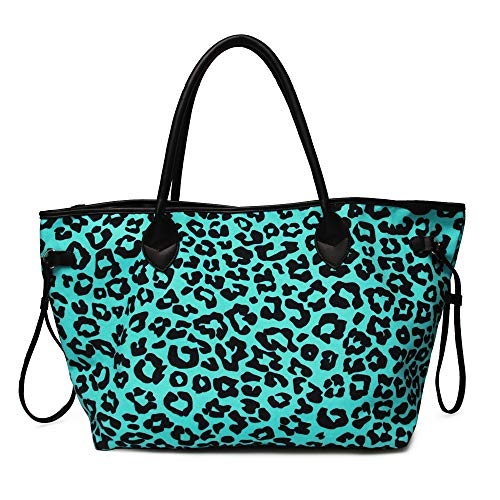 Women Canvas Casual Tote Bag Mint Leopard Print Oversized Handbag with PU Leather ()