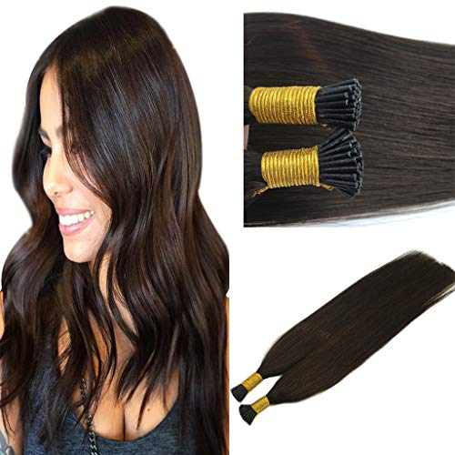Googoo 16 inch Dark Brown I Tip Hair Extensions Human Hair 1g Per Strands 50g Thick Pre Bonded Hair Extensions