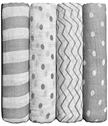 Muslin Swaddle Blankets By Cuddlebug - Spots N' Stripes- 4 Pack Baby Blanket For Newborns - Swaddle Blanket, Swaddle Wrap, Muslin Swaddle & Receiving Blankets
