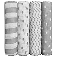 "Muslin Baby Swaddle Blankets ""Spots n' Stripes"" 4 Pack- CuddleBug 47 x 47 inc..."