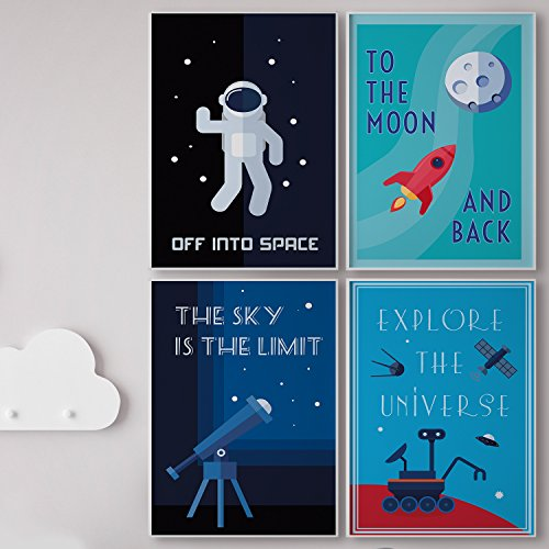 Pillow & Toast LIMITED EDITION SPACE WALL ART: Set of FOUR Posters For Kids, 4-Pack Children Bedroom Room Decoration, Hanging Stripes Included. Classroom Decor, Modern Poster Sets. - Kid Poster