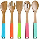 Vremi 5 Piece Bamboo Wooden Spoon and Utensils Set - Natural Eco Friendly Kitchen Basics - Spatula Forked Serving and Mixing Spoons with Hanging Storage Holes and Colorful Silicone Ergonomic Handles