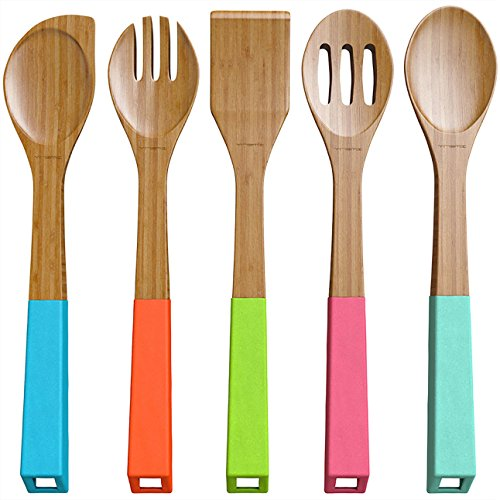 Colorful Hanging (Vremi Bamboo Wooden Spoons and Cooking Utensils - 5 Piece Antimicrobial Kitchen Basics Set with Spatula Forked Serving and Mixing Spoon - Colorful Silicone Handles and Hanging Holes (Patent)