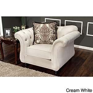 Furniture of America Agatha Traditional Tufted Arm Chair Cream White
