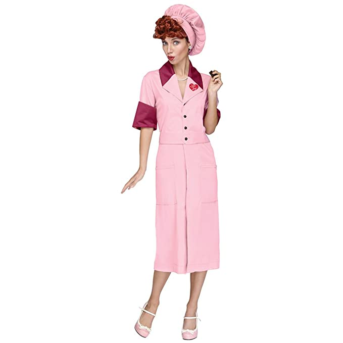 50s Costumes | 50s Halloween Costumes Fun World Lucy Candy Factory Adult Costume- $47.38 AT vintagedancer.com