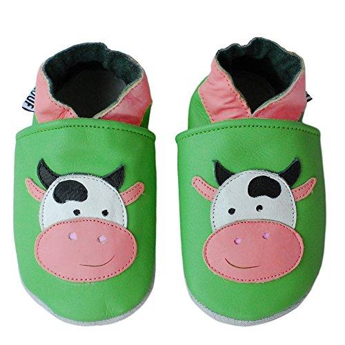 PantOUF Weiches Leder Babyschuhe und Kleinkind Schuhe, Krabbelschuhe Grün mit einer Kuh