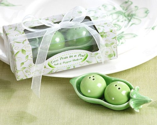 Two Peas in a Pod - Ceramic Salt & Pepper Shakers in Ivy Print Gift Box -48 count