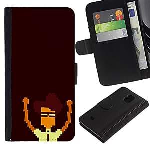 YiPhone /// Tirón de la caja Cartera de cuero con ranuras para tarjetas - Nerd Pixel - Samsung Galaxy S5 Mini, SM-G800