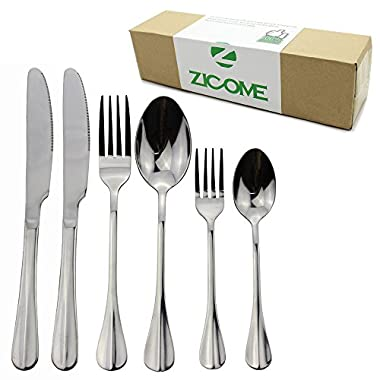 Zicome 24-piece Stainless Steel Flatware Set - Forks Knives Spoons Silver Silverware Cutlery Dinnerware Tableware Set,service for 4