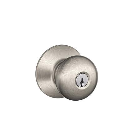 schlage f51a ply 619 plymouth knob keyed entry lock satin nickel