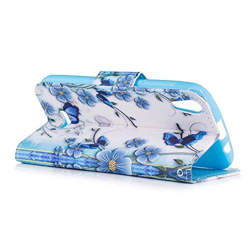 Funda para Wiko Sunny 2 Carcasa, Mosoris Wiko Lenny 2 PU Leather Flip Cover + TPU Silicona Interna Casa, Case con Cierre Magnético y Función de Soporte, Ranuras para Tarjetas y Billetera Tapa, Protect blue butterfly