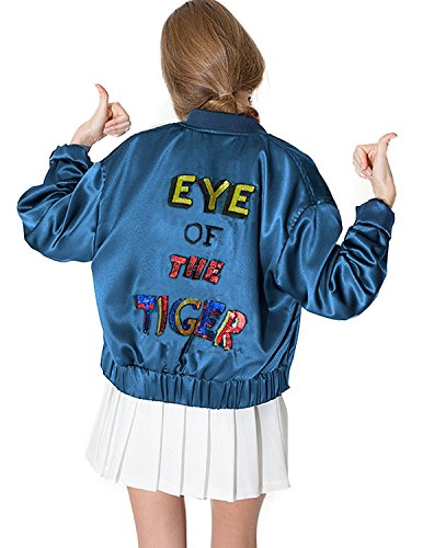 haoduoyi Womens Lightweight Classic Embroidery Flight Bomber Jacket (S) 51bMRTJ4uiL