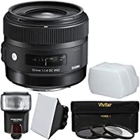 Sigma 30mm f/1.4 ART DC HSM Lens with 3 Filters + Flash + Diffuser + Soft Box + Kit for Sigma SA Quattro Cameras