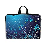 Neoprene Laptop Sleeve Bag with Hidden Handle & Eyelet (D Ring Hook) for 17 17.3 inch Notebook - Blue Swirl Flower Design