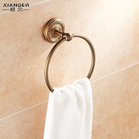Ronda de antigüedades toalla alrededor del anillo del cobre anilla para colgar las toallas de baño de metal continental propiedad colgador de toallas: ...