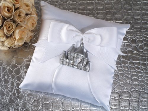 - Silver Castle Ring Pillow Wedding Set
