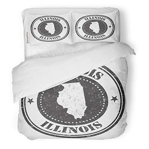Semtomn Decor Duvet Cover Set King Size Aged Rubber Stamp The Name and Map of Illinois 3 Piece Brushed Microfiber Fabric Print Bedding Set Cover
