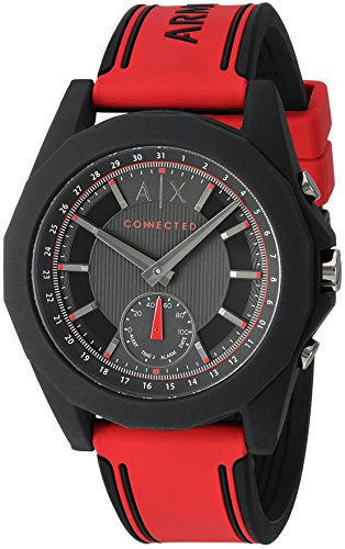 Armani Exchange Men's Hybrid Smartwatch, Red Silicone, 44 mm, - Armani Red
