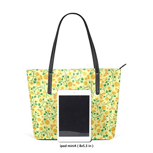 COOSUN Amarillo del estampado de flores del hombro bolso de cuero del monedero y bolsos de la bolsa de asas para las mujeres Medio muticolour