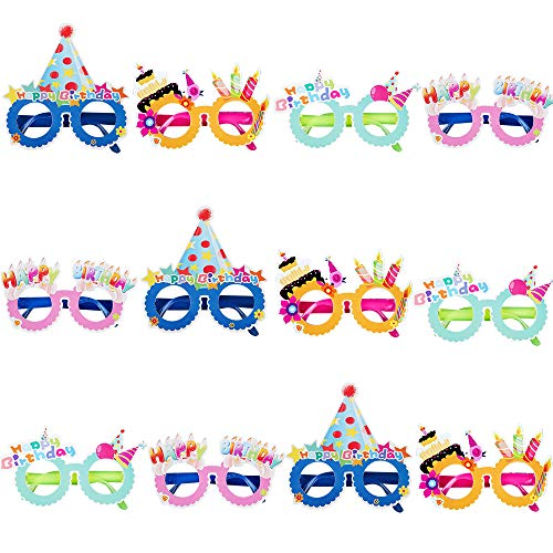 PROLOSO Birthday Party Photo Booth Props Plastic Costume Glasses Eyeglass Frames Party Supplies 12 Pack