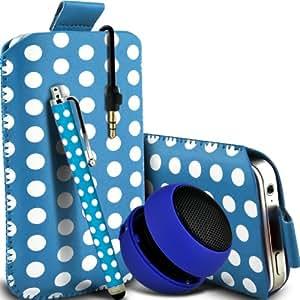 Nokia Lumia 820 Protección Premium Polka PU ficha de extracción Slip In Pouch Pocket Cordón piel cubierta de la caja de liberación rápida, grande Polka Stylus Pen & Mini recargable portátil de 3,5 mm Cápsula Viajes Bass Speaker Jack Baby Blue & White por Spyrox