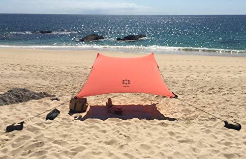Neso tenten strandtent met zandanker, draagbare luifel zonnescherm – 2,1 mx 2,1 m – gepatenteerde versterkte hoeken