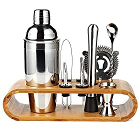 10-Piece Bartender Kit, Cocktail Making Set with Sleek Bamboo Display Stand, 750ml Cocktail Shaker &