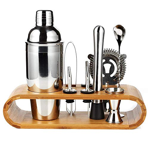 10-Piece Bartender Kit, Cocktail Making Set with Sleek Bamboo Display Stand, 750ml Cocktail Shaker & Large Drink Mixer Kits, Stainless Steel Bartending Tool Set, Perfect Home Cocktail Maker Gift Set. ()