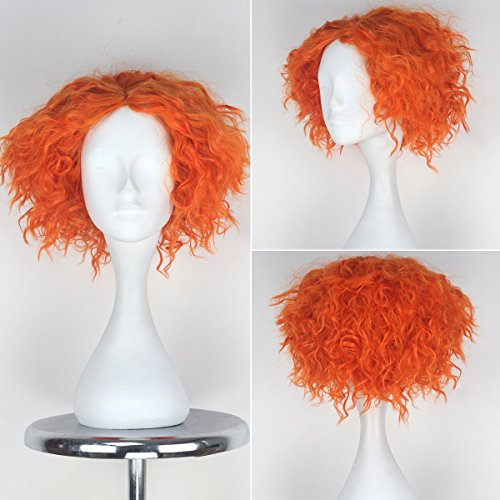 Miss U Hair Synthetic Short Curly Hair Mad Hatter Mens Yellow Red Party Copslay lolita Wig