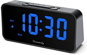 DreamSky 7.3 Inches Large Alarm Clock Radio, Electronic FM Clock Radio, 2 Inches Digit Display with Dimmer, USB Charging Port, Weekday Display, Snooze, Sleep Timer, DST, Battery Backup.