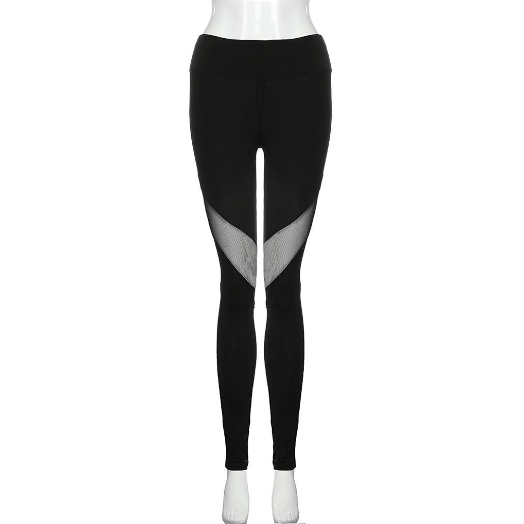 e9a607cc2b027 Amazon.com: Hot Sale Pants! Auwer Tight Mesh Panels Yoga Pants Stretchy  Women's Leggings Gym Fitness Workout Non See Through (M, Black): Health &  Personal ...