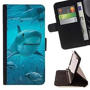 BullDog Case - FOR/Apple Iphone 5 / 5S / - / shark smile funny ocean blue water sea /- Monedero de cuero de la PU Llevar cubierta de la caja con el ID Credit Card Slots Flip funda de cuer