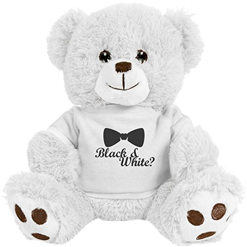 Softest Toy Bow (Customized Girl Black And White Bowtie: 8 Inch Teddy Bear Stuffed Animal)