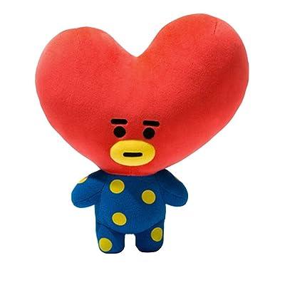 Teblacker BTS Plush Toy, Kpop Bangtan Boys TATA, KOYA, Van, SHOOKY, CHIMMY, Cooky, MANG, RJ Soft Cotton Plush Pillow for Sofa, Bedroom, Living Room and Car( Style B - TATA): Toys & Games