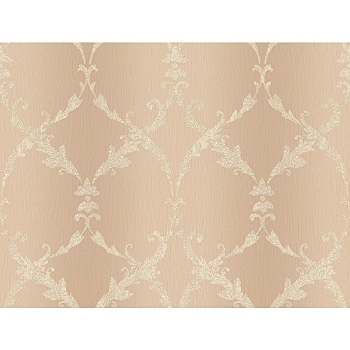 York Wallcoverings CR2831 Impressions Gated Scroll Wallpaper, Peach/Cream ()